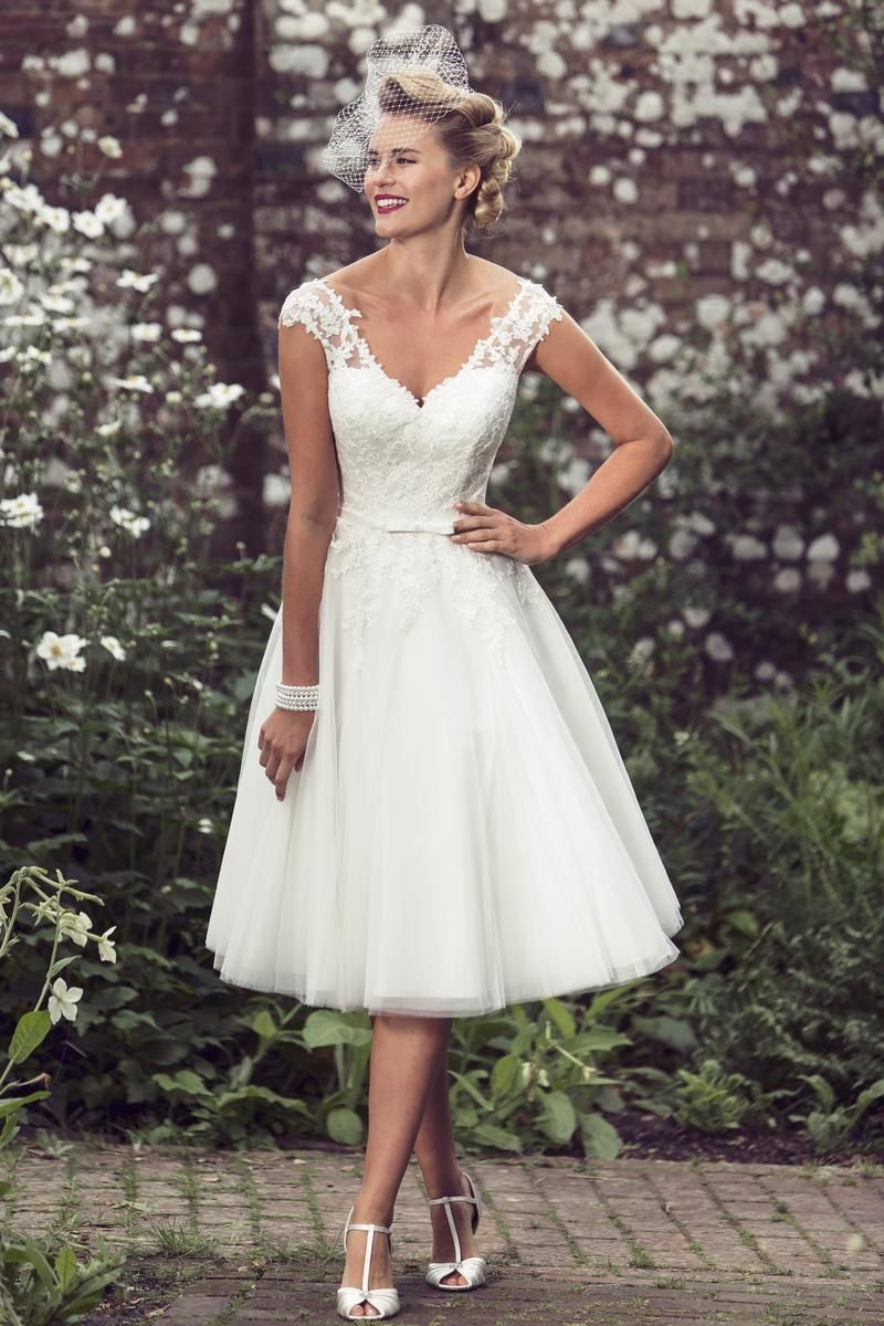 Stunning 56 Prettiest Short Wedding Dresses Collections. a line v neckline cap  sleeves tea length rustic lace wedding dress ... dd7d455c4c8e