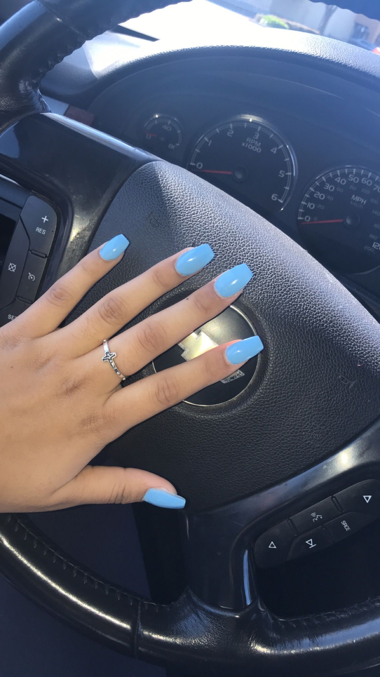 Light Blue Coffin Nails For Darker Skin Blue Coffin Nails Dark Blue Nails Light Blue Nails