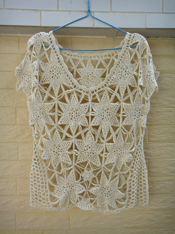 Boho Short Sleeve Crochet Floral Lace Blouse #blouse #Boho #crochet #floral #lac…