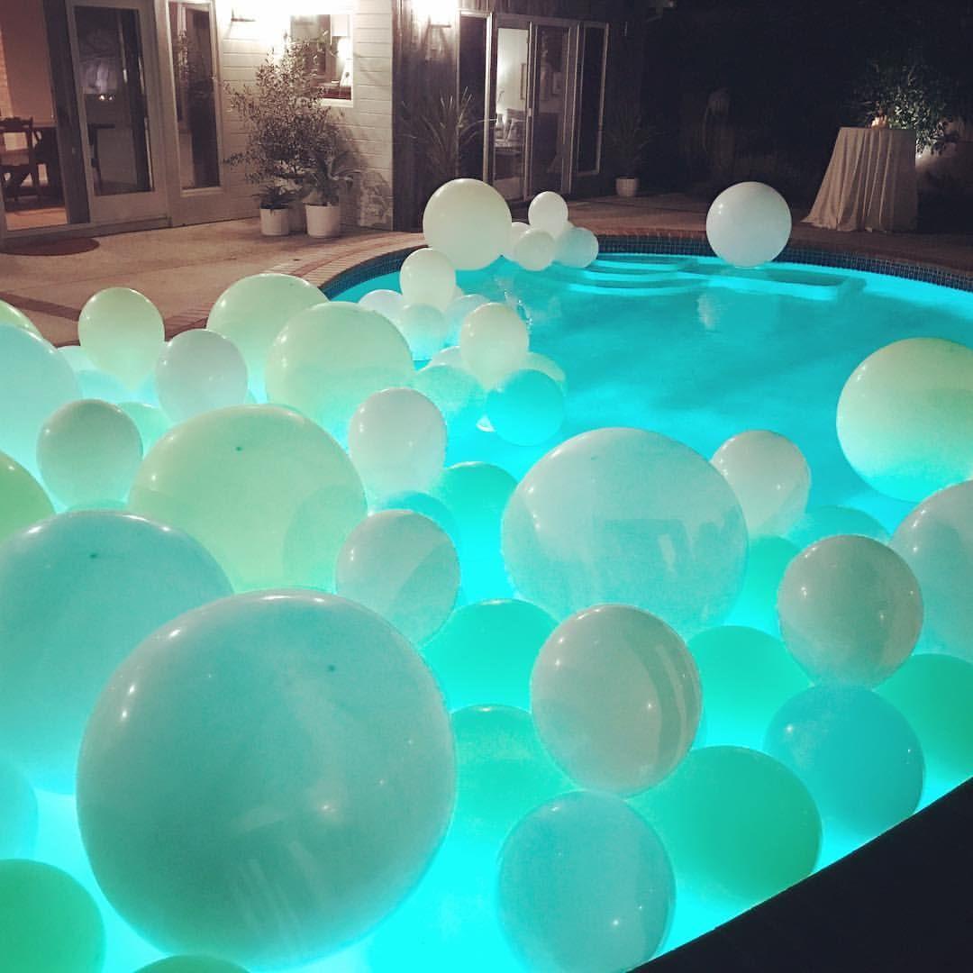 Balloons Floating In Pool Pool Wedding Decorations Pool Wedding