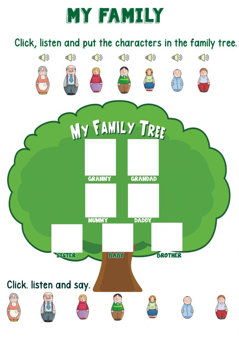 Family Tree Worksheet For Kindergarten