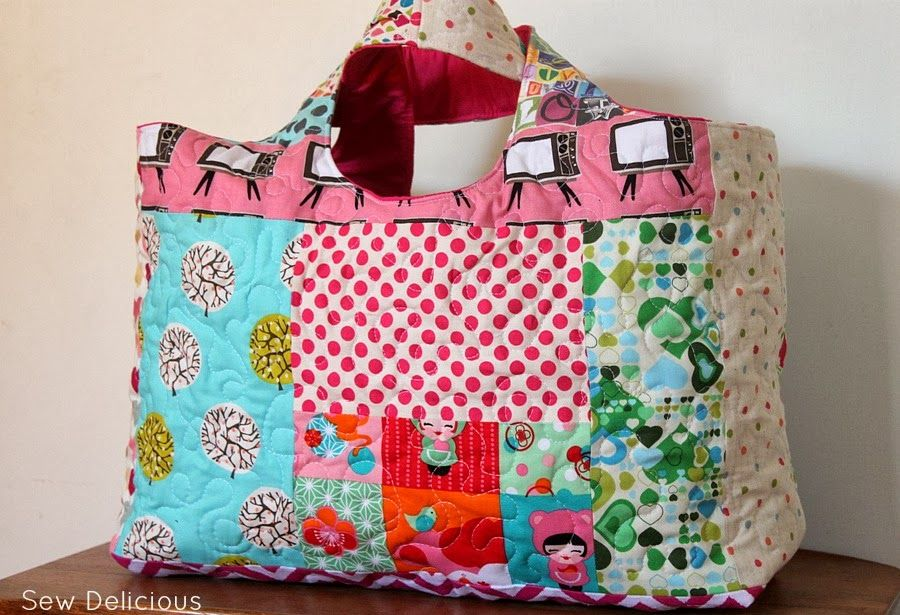 Quilted Big Tote Bag - Sew Delicious | bag | Pinterest | Big tote ...
