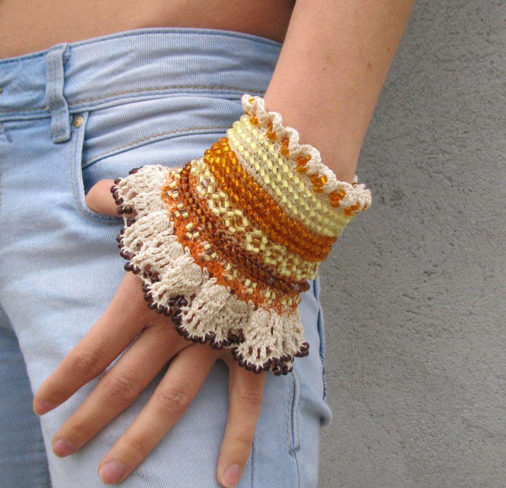 Beaded Jewelry / bracelet Cuff Beadwork Free form crochet bracelet ...