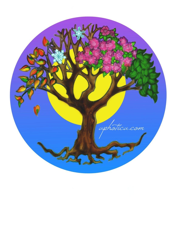 Four Seasons Tree Original Art Card