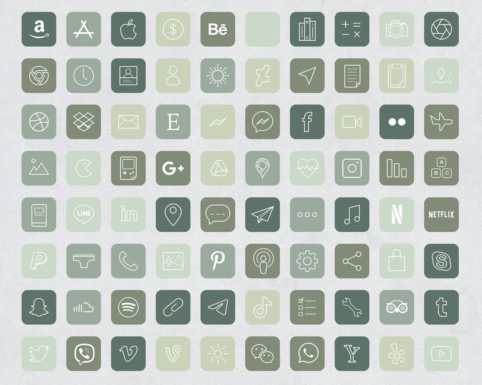 640 Forest Green Aesthetic iOS 14 App Icons / Soci