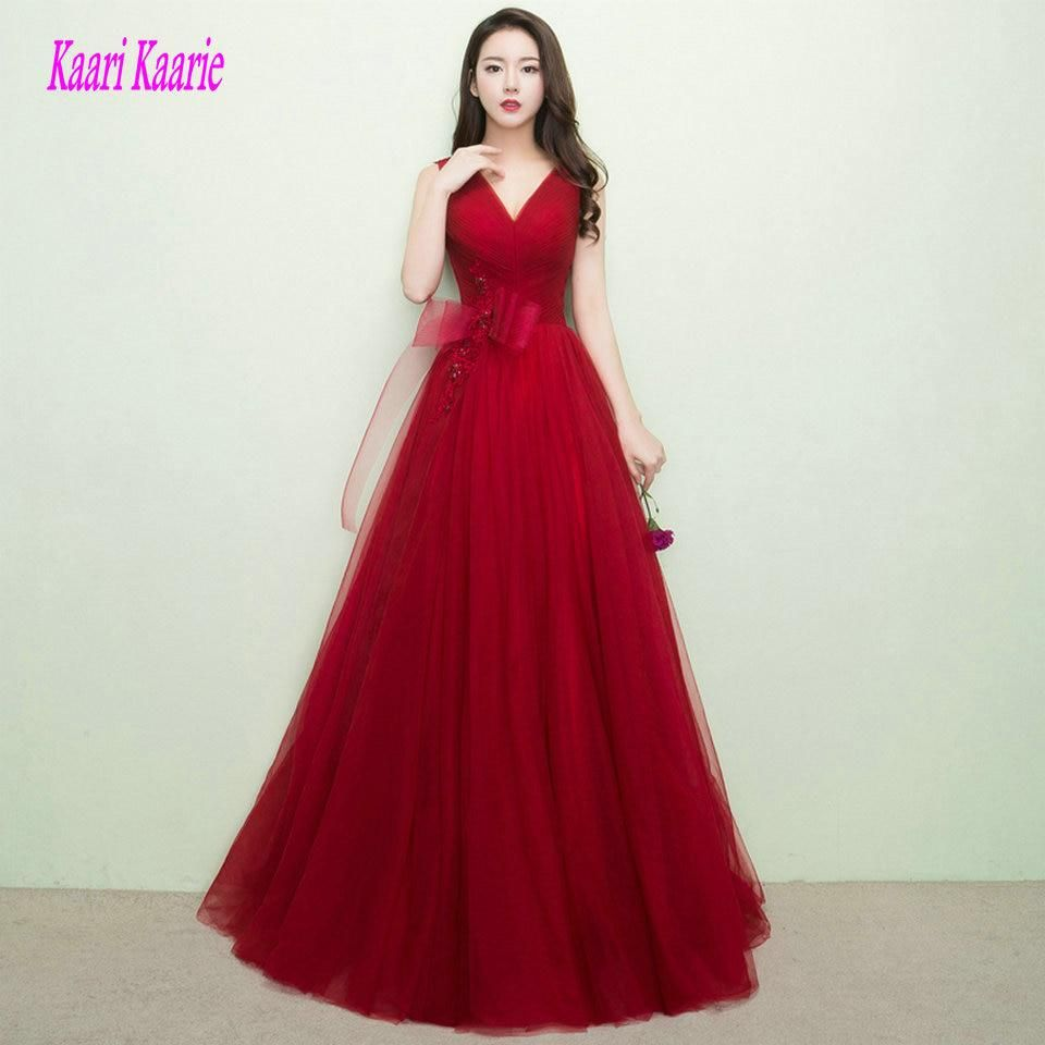 Elegant burgundy prom dresses long red prom dress vneck tulle