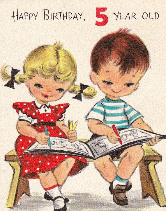 Happy Birthday 5 Year Old Coloring 1950s Vintage Hallmark Greeting