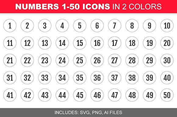 Number 1 50 Icons In 2 Colors Icon Design Inspiration Number Icons Icon