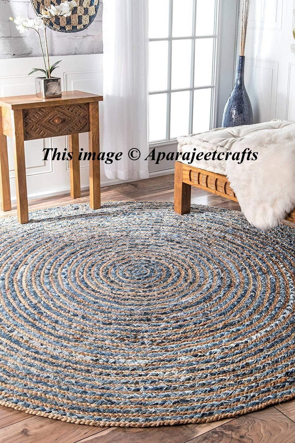 Hand Braided Bohemian Colorful Cotton Jut Area Rug Round Rug Blue Colors Home Decor Rugs Round Shape 3 Feet Diamete Braided Rag Rugs Jute Round Rug Jute Carpet