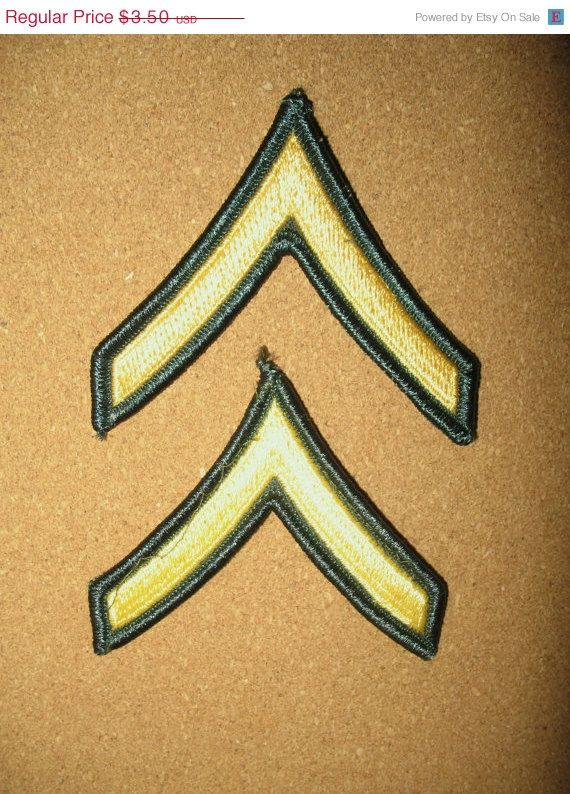 ON SALE 2 Vintage ARMY Patches Military Shoulder Ranks Bars Uniform U.S. - Private