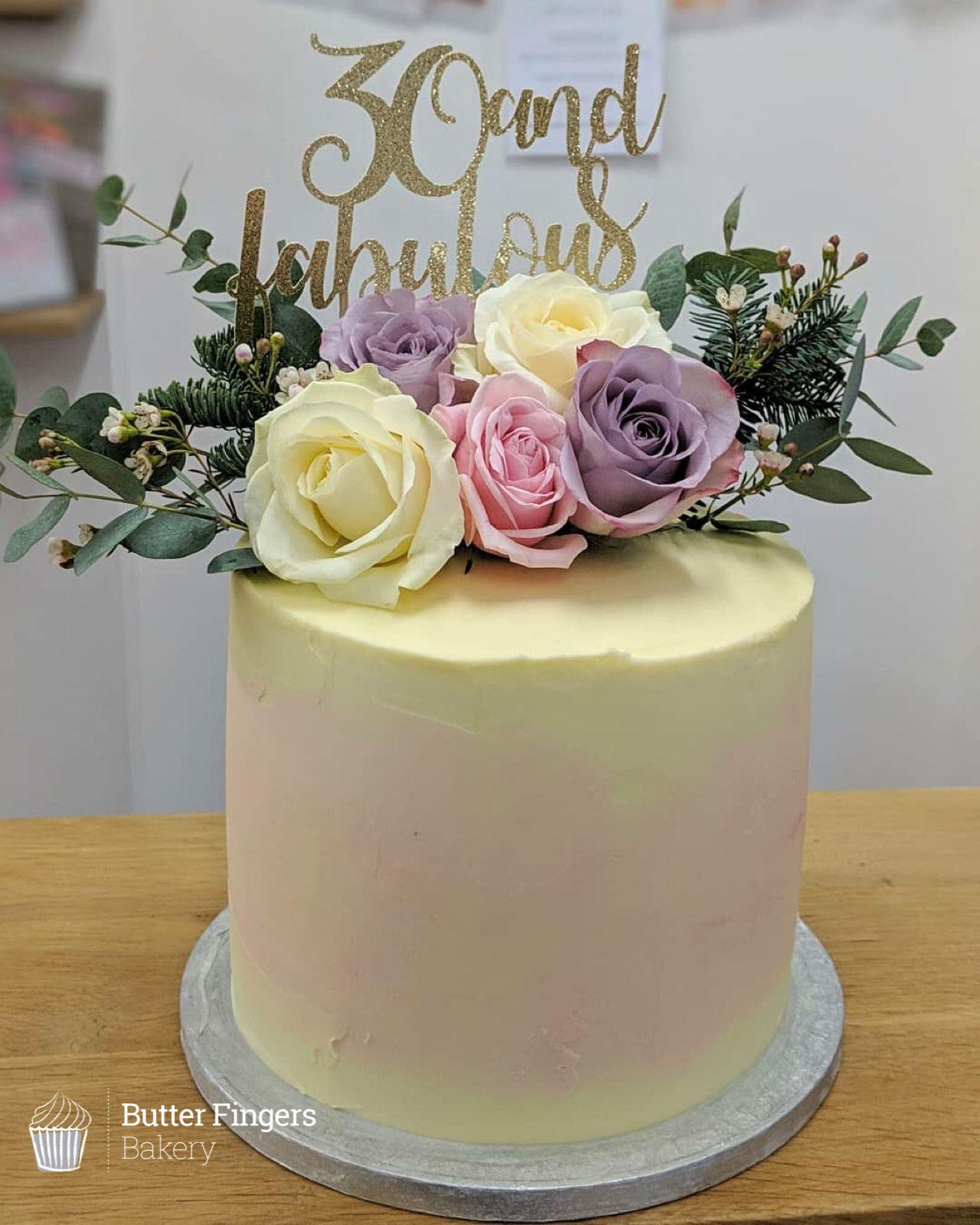 Butter Fingers Bakery Tasty Homemade Cakes Baked Freshly In Matlock Fresh Flower Cake Flower Cake Toppers Purple Cakes Birthday [ 1600 x 1280 Pixel ]