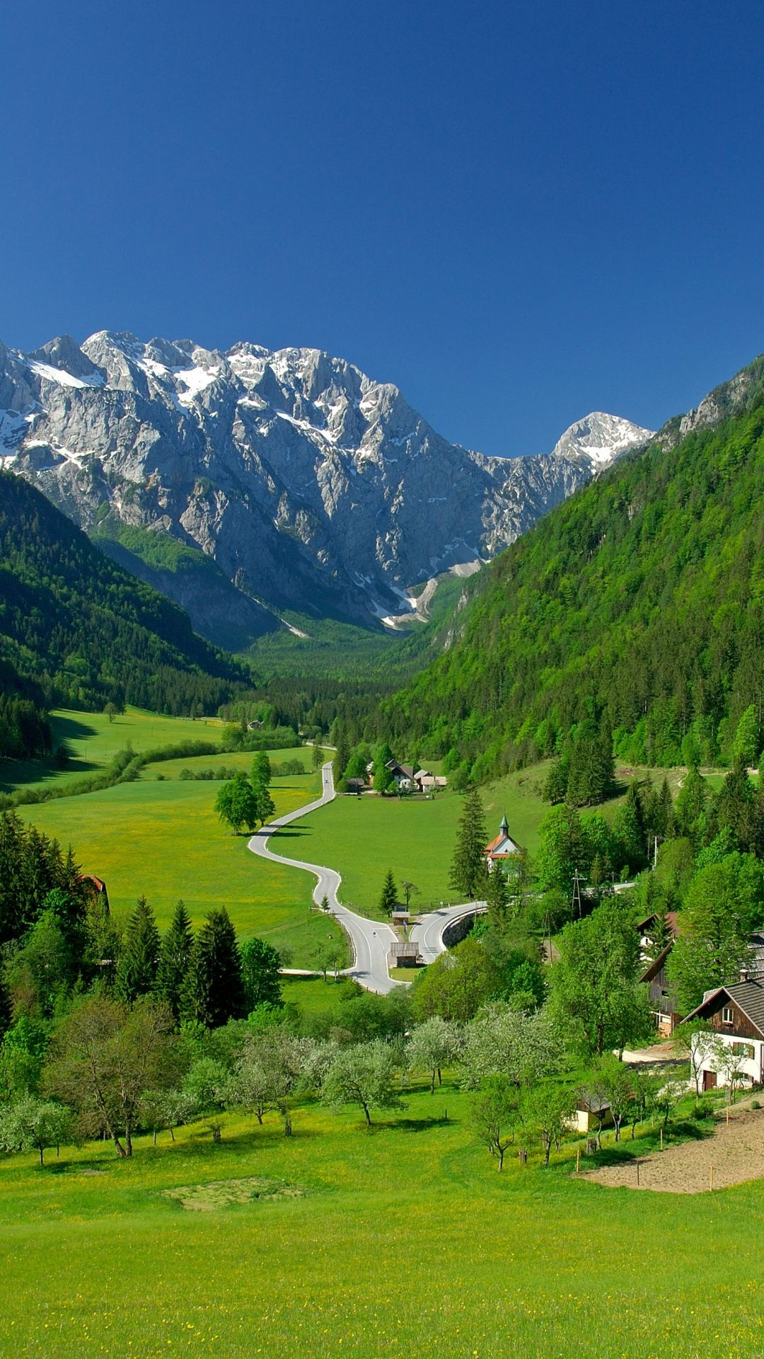Spring Alpine Valley Mountains Fields Landscape Paisajes Hermosos Paisajes Paisaje De Montana