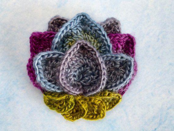 Lotus Flower Appliqu Crochet Pattern Crocheted Flower Crochet