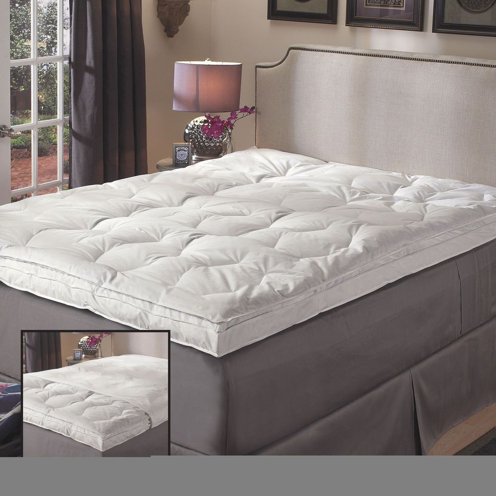 Details about Luxury Natural Down on Top Featherbed with