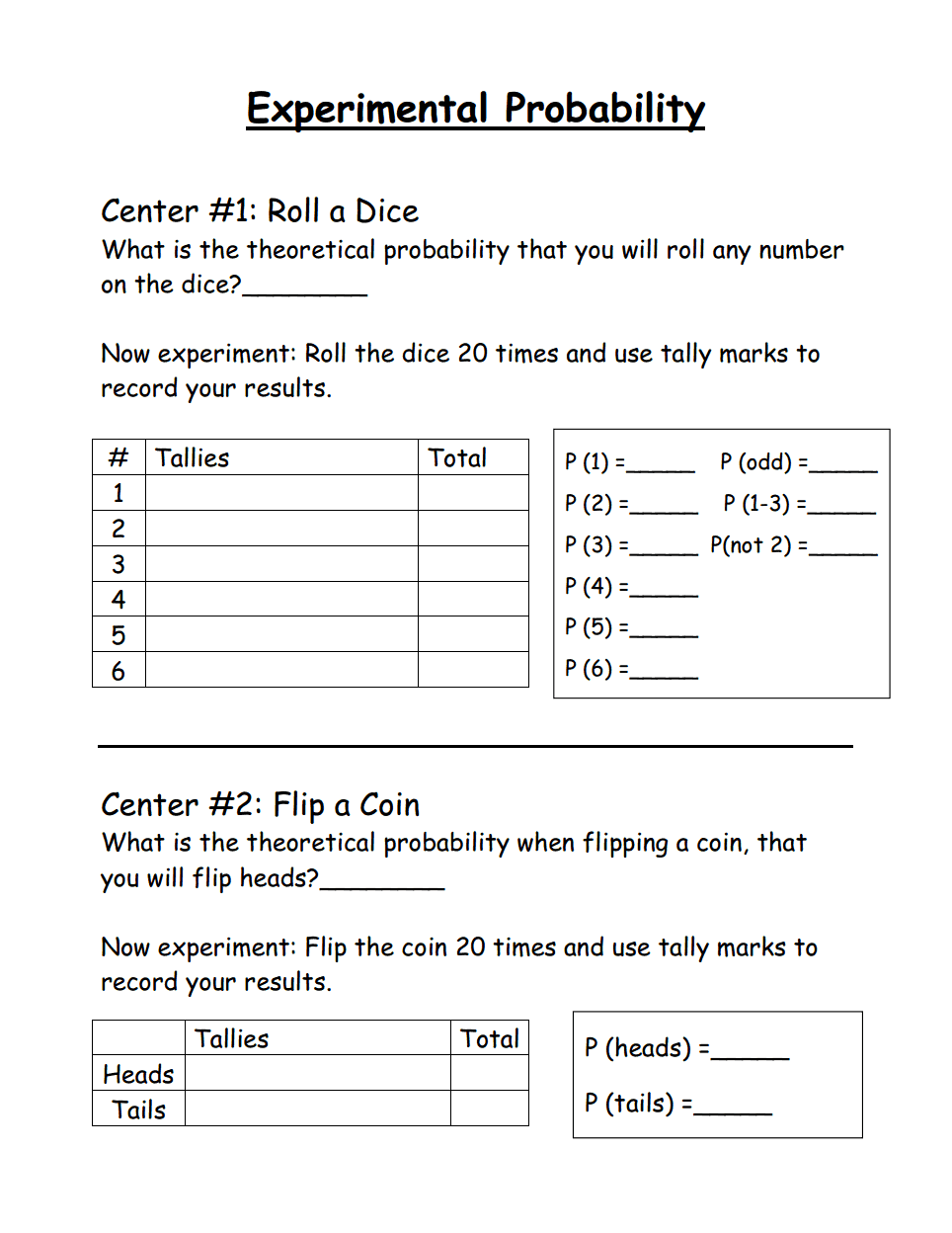 hight resolution of Experimental Probability.pdf   Probability worksheets