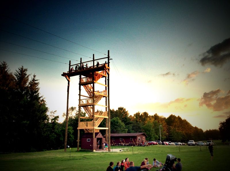Zipline in operation during warmer times :-)