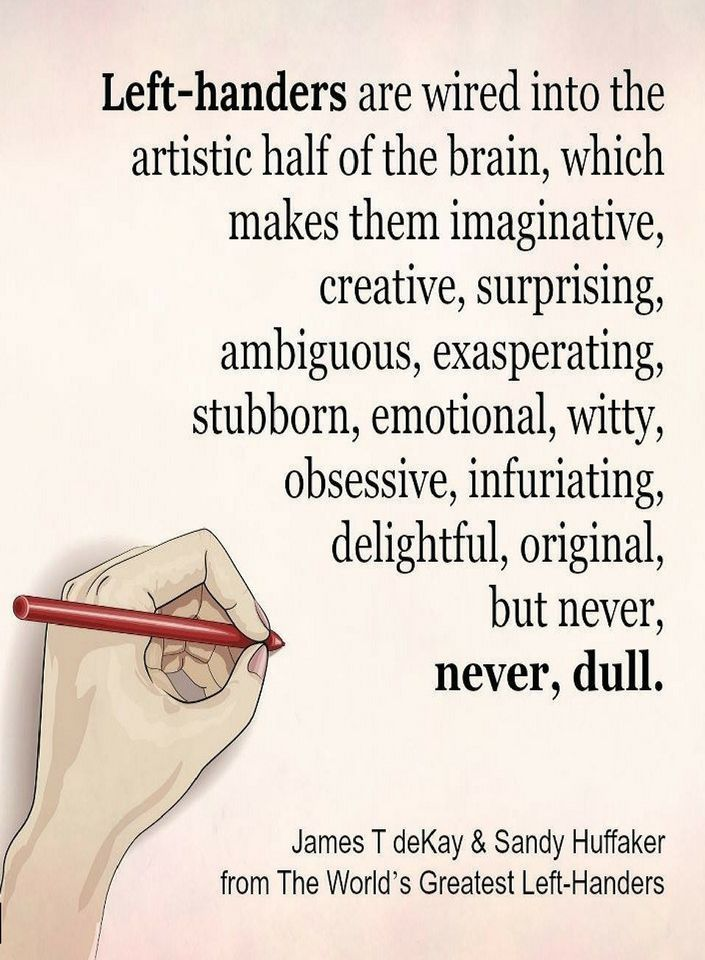 Quotes Left Handers are wired into the artistic half of the brain ...