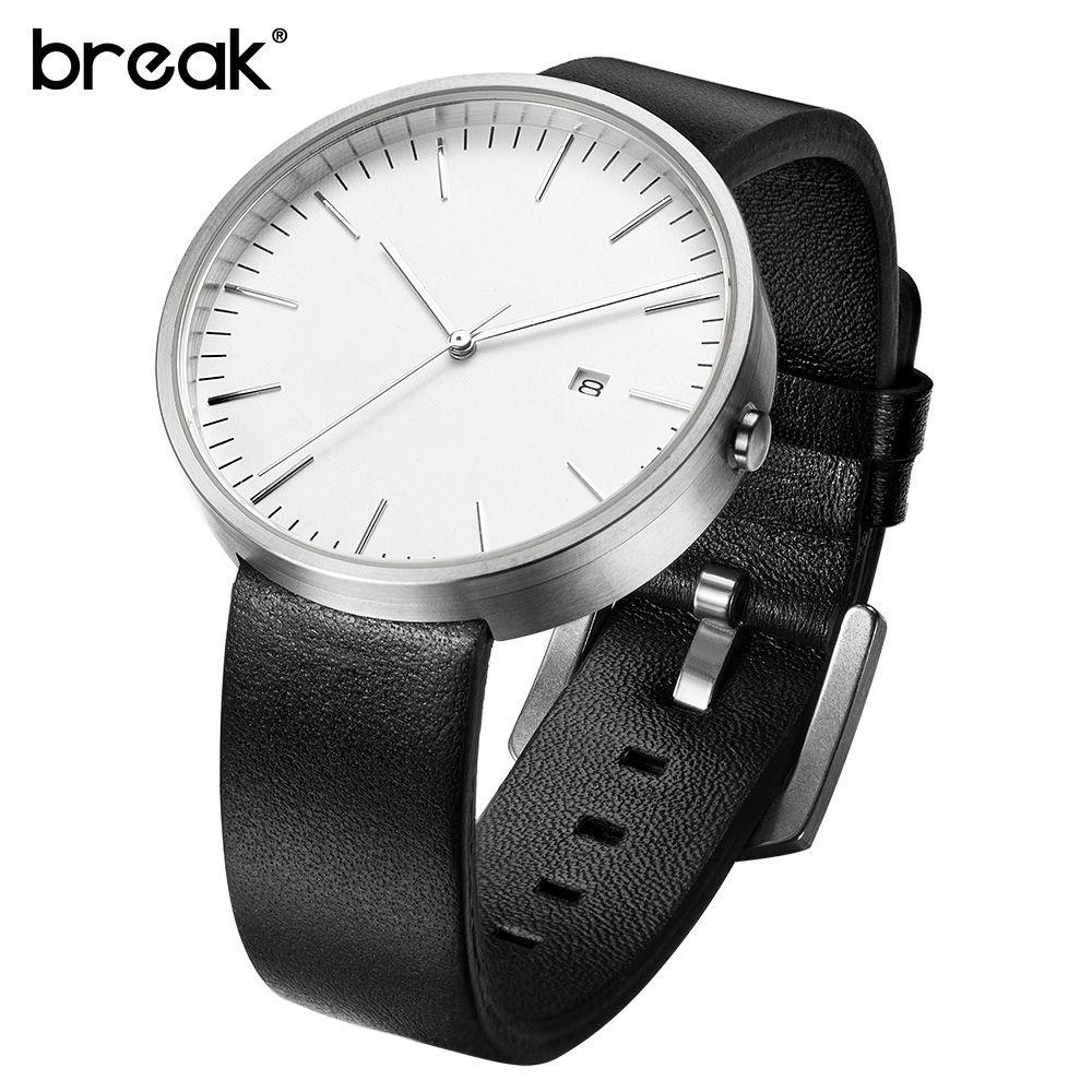 Break Top Men Women Simple Fashion Style Quartz Wristwatch Steel Case Genuine Leather Galendar Waterproof For Business Watches