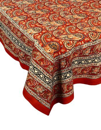 """ShalinIndia Indian Home Decoration Summer Tablecloth Linen Handloom Fabric Floral 90"""" X 108"""": Amazon.in: Home & Kitchen"""