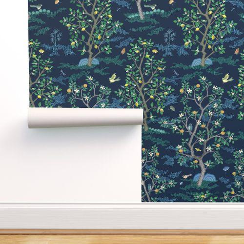 Multi Citrus Grove Toile Navy Spoonflower In 2020 Navy Wallpaper Wallpaper Spoonflower
