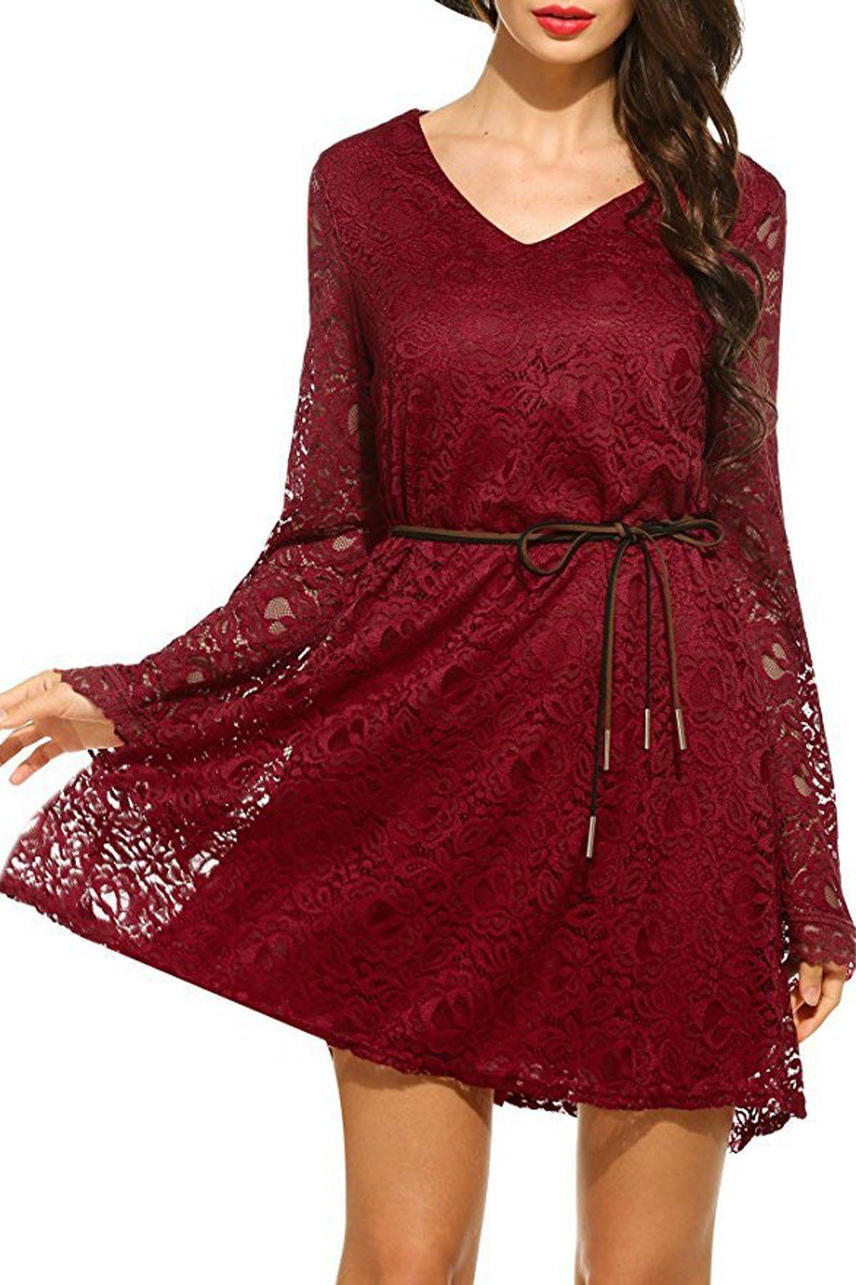 d8436e4590b78 Pure Color Plus Size Long Sleeves Lace Short Dress