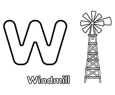 Windmill Coloring Pages Printable Is For Windmill Coloring Page