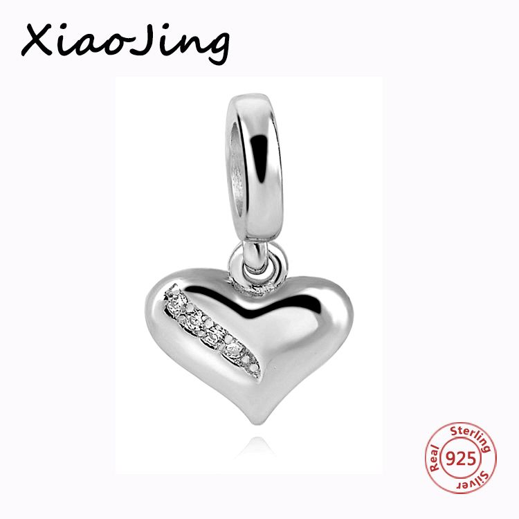 Real 100% 925 Sterling Silver White love Charm With CZ Fit Pandora Bracelets Pendant Authentic Charms For Jewelry Making Gifts