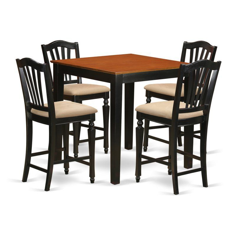 East West Furniture Pub 5 Piece High Splat Dining Table Set Pbch5