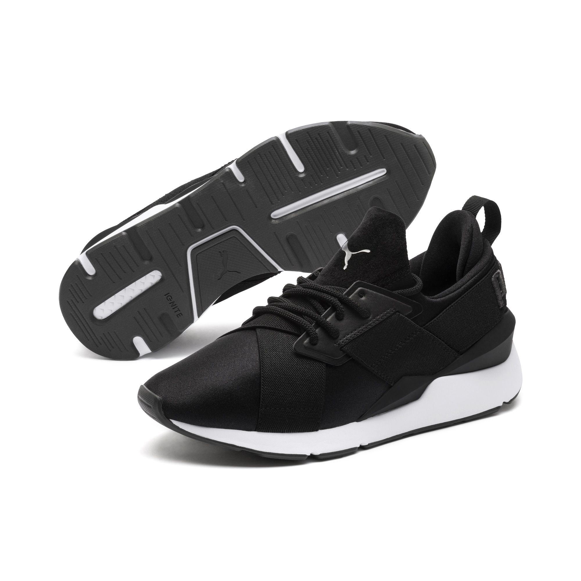 Puma Sneaker Muse Satin Ii Wns Damen Schwarz Grosse 36 36 5 Womens Sneakers Leather Shoes Woman Womens Athletic Shoes