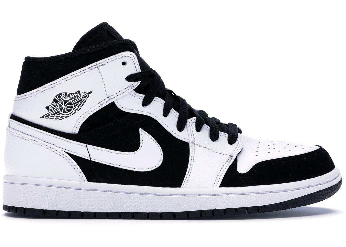 Jordan 1 Mid White Black Jordan 1 mid, Sneakers men