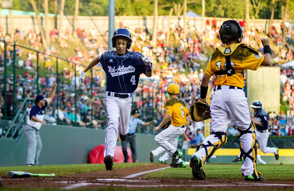 Red Land S Braden Kolmansberger Scores During Red Land S 9 8 Win In The Little League World Series In Williamsport Pa Sean Simmers Pennlive Com With Images Little League