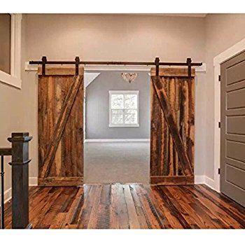 Amazon Com Booster Bg007b 13 New Black American Country Style 13ft Sliding Door Hardware Track Barn Door Designs Double Sliding Barn Doors Barn Doors Sliding