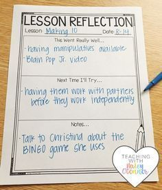 It's super important to take time and reflect on lessons and how to improve them. Great for new teachers or any teacher that wants to improve their practice.
