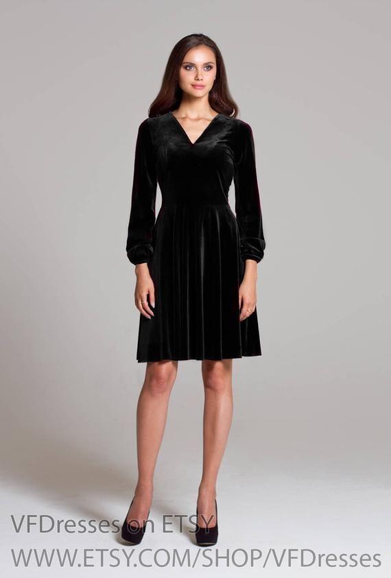 85c426570f3 Black velvet dress