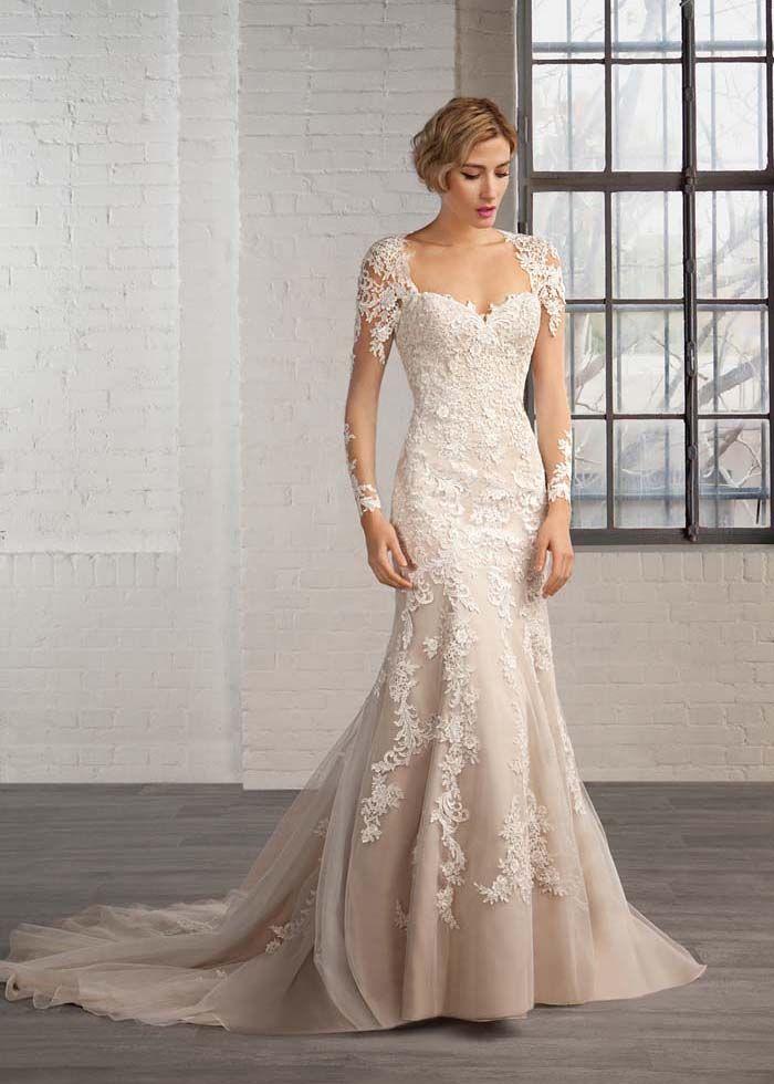 Ivory Lace Tulle Long Sleeves Keyhole Back Champagne Lining Wedding Dress Wedding Dresses Beaded Wedding Dresses Lace Green Wedding Dresses