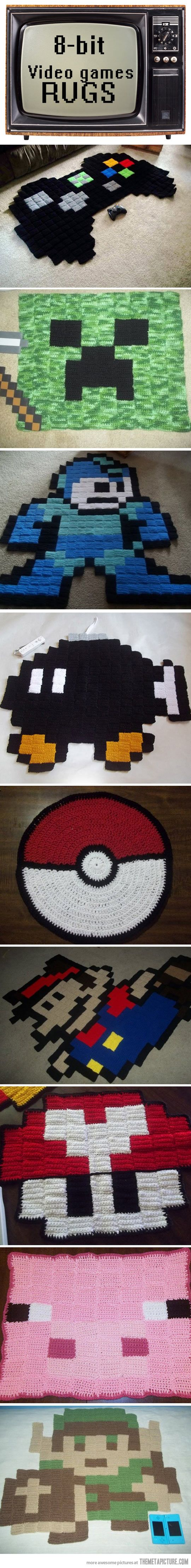 Cool 8-bit video game rugs…Minecraft piggy! Someone else can have the creeper, that would scare me xD