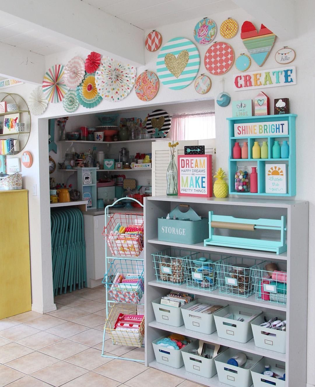 """Just Add Sunshine--Katie Sabin on Instagram: """"Made some good progress in my craft room today and oooh I'm loving the updates!! #thegreatcraftroomcleanup #katiesunshinescraftroom"""" -  nähzimmer  - #add #craft #craftrooms #craftstorage #craftstudios #Good #instagram #katie #katiesunshinescraftroom #loving #oooh #progress #Room #sabin #sunshine #SunshineKatie #thegreatcraftroomcleanup #today #updates"""