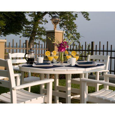 Outdoor Polywood Recycled Plastic 48 In Round Dining Table White