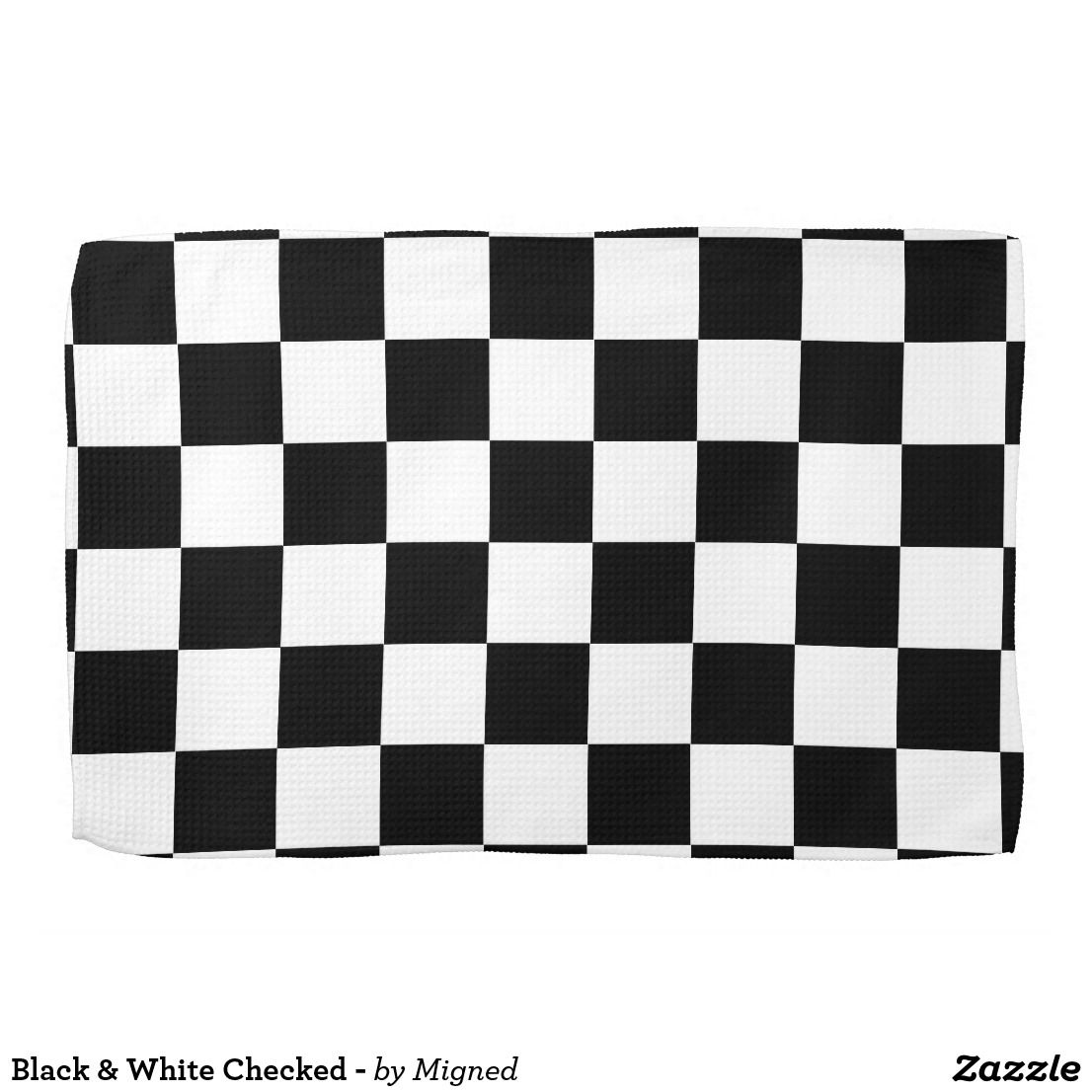 Black White Checked Kitchen Towel Zazzle Com Black White Pattern Store Design