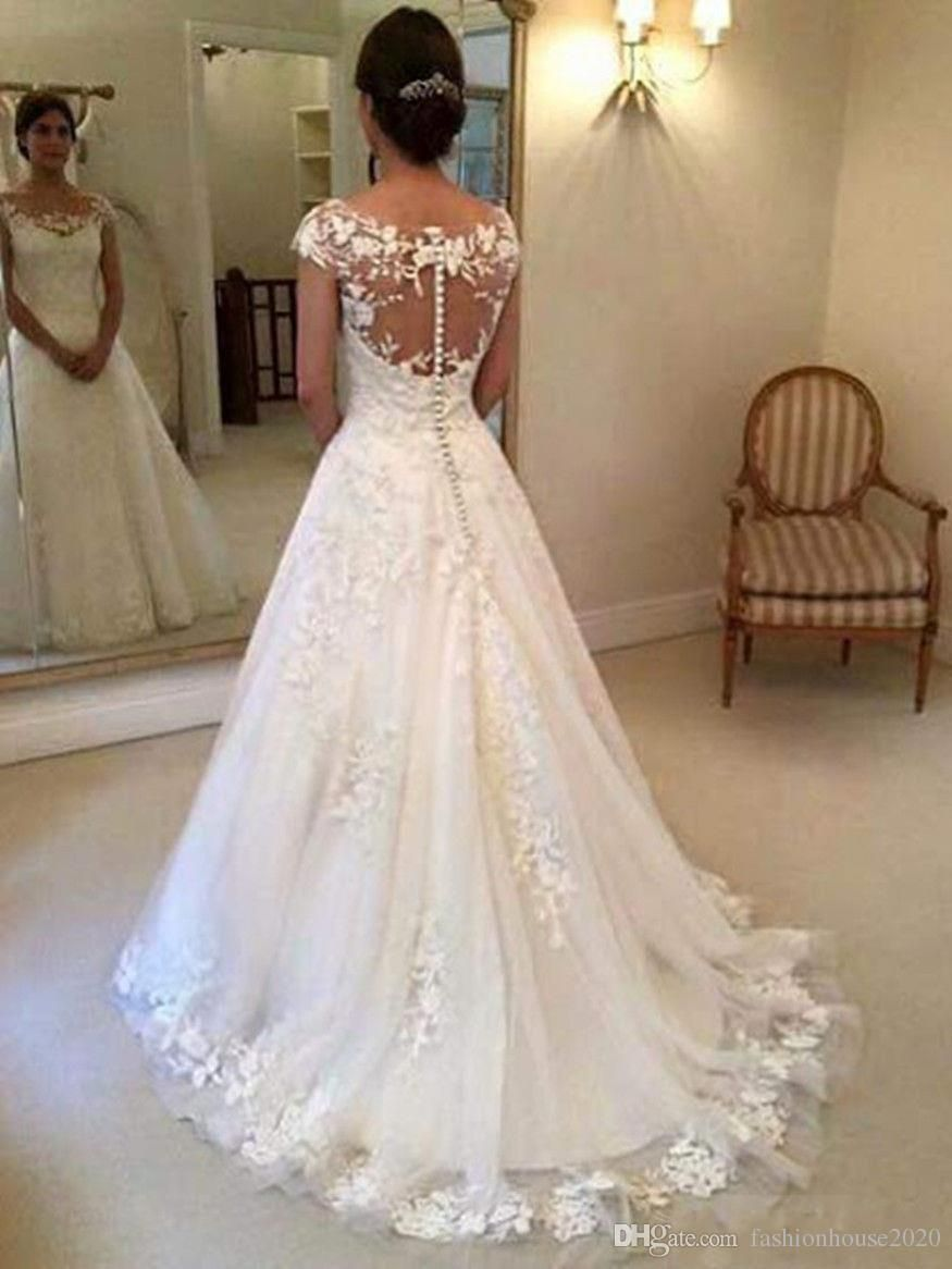 Discount wedding dresses new full lace appliques illusion neck