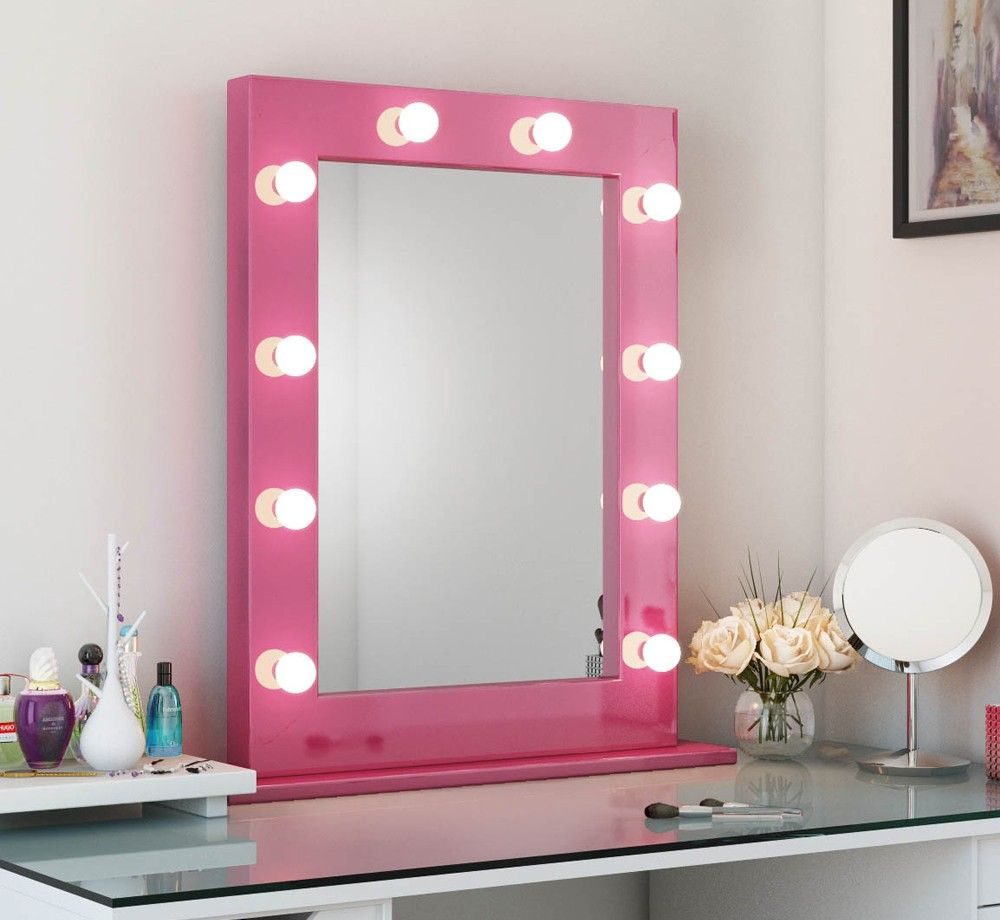 Tall Led Hollywood Mirror Pink Freestanding Hollywood Vanity