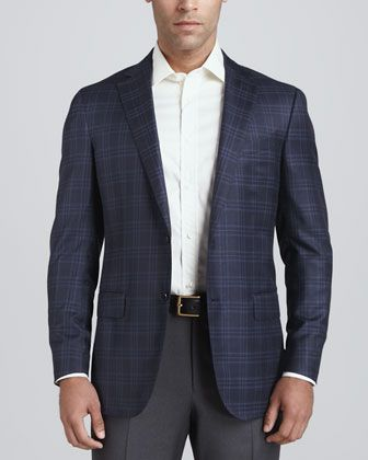 Ermenegildo Zegna Plaid Two-Button Sport Coat, Navy - Neiman Marcus