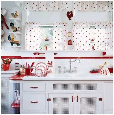 Best Black And White Polka Dot Cafe Curtains For Kitchen Red 400 x 300