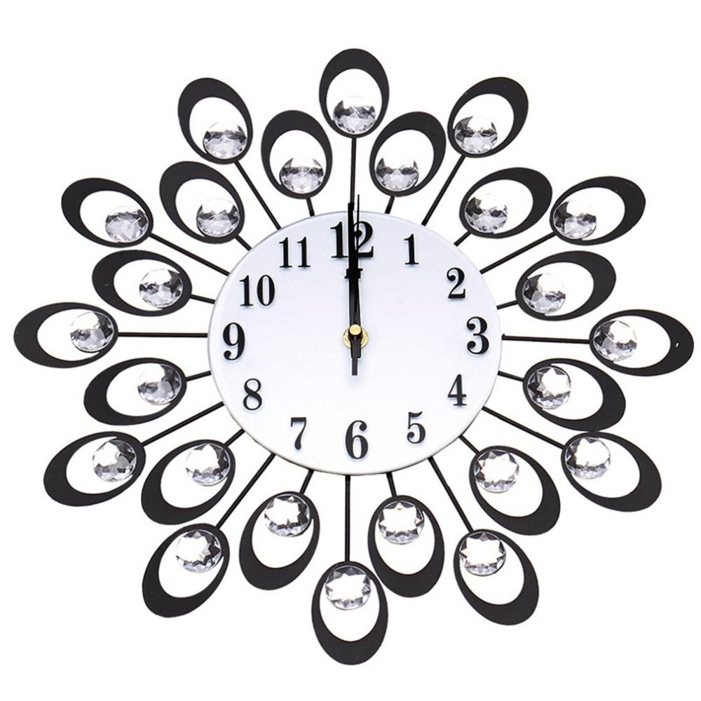 Living Room Modern Flower Shape Clock Large Metal Wall Clock Clock