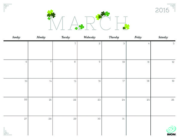 2020 Crafty And Cute Printable Calendar For Moms March Calendar
