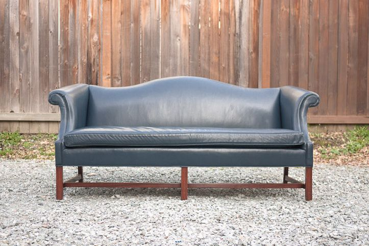 Vintage Navy Leather Camelback Sofa. I Would Put This In My Office. Blue  Leather
