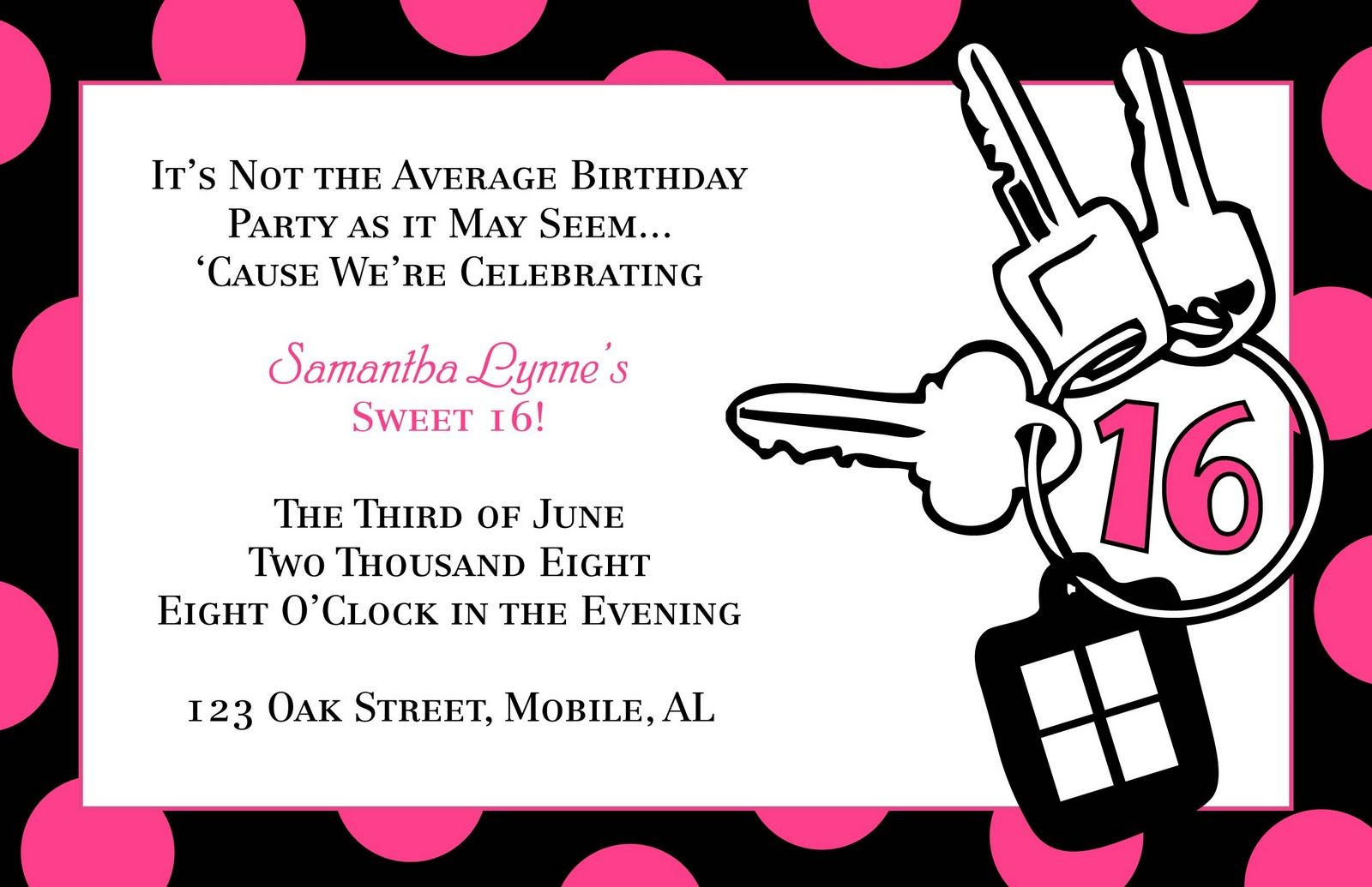 Download Now FREE Template Sweet 16 Birthday Party Invitations