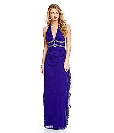 Blondie Nites Halter Ruffle Side Long Dress #Dillards | Prom Queen ...