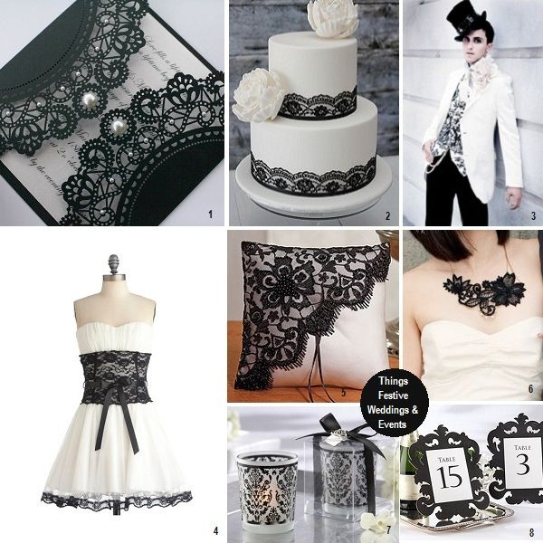 add black lace for somewhat of a  Parisian wedding theme
