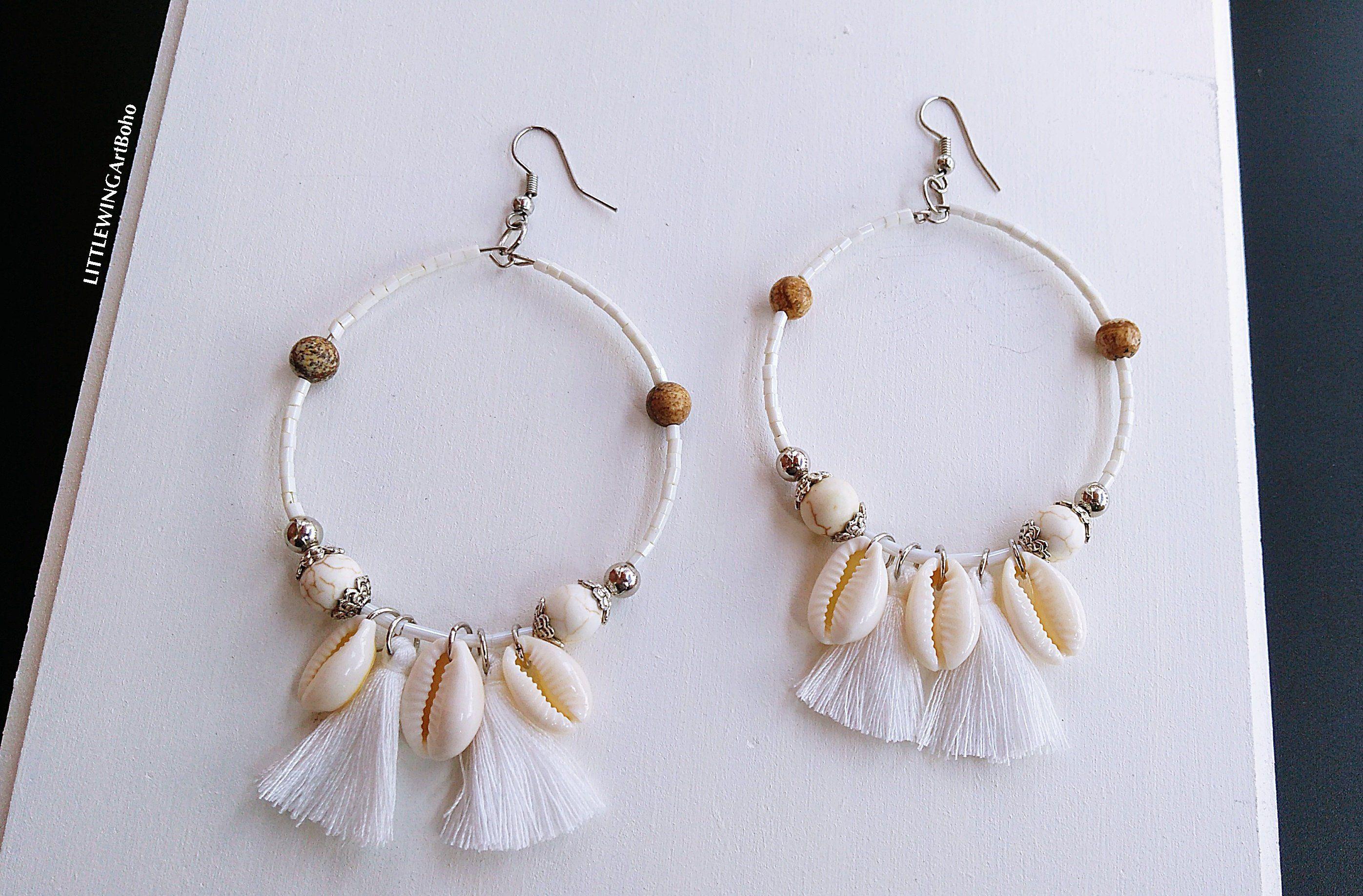 Boho trendy earrings-silver-cowrie shell-white-drop earrings-summer-beachy
